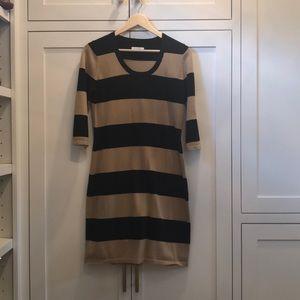 Calvin Klein striped sweater dress.